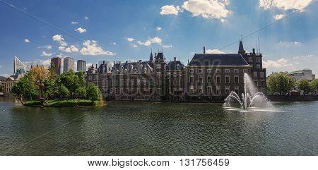 The Hofvijver is a pound in the center of The Hague the Netherlands