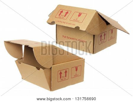 Empty Cardboard Boxes on Isolated White Background