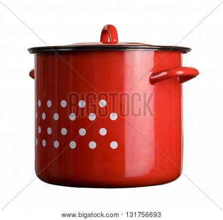 horizontal front view of a large classic cooking red pot with dots isolated on white background