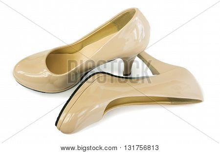 Elegant women's shoes beige color on a white background