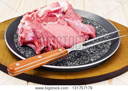 A Piece of Fresh Raw Beef, Veal Studio Photo