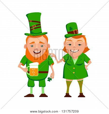Vector illustration of two happy leprechauns. Cartoon the leprechauns are in green clothes a hat and smiling. Vector characters for St. Patrick's day