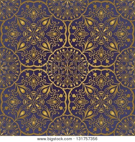 Seamless ornamental background. Eastern ornament with golden lines. Template for carpet shawl tile textile. Oriental rich pattern in blue colors.