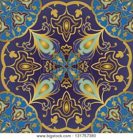 Seamless ornamental background. Eastern ornament with golden lines. Template for carpet shawl tile textile. Oriental bright rich pattern in blue and purple colors.