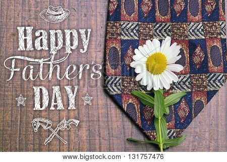 Happy father's day greeting card. Father's day background. Holiday card with isolated graphic elements text tie and dasy. Can use as ad promotion poster flyer blog article marketing advert.