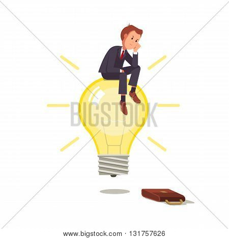 Businessman with ideas. Businessman sitting on a light bulb and thinks the idea. Business concept vector flat illustration. A man in a business suit thinks sitting on the light bulb