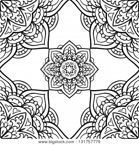 Oriental seamless pattern of mandalas. Vector black and white background. Template for carpet textile shawl.