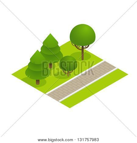 Park concept with trees and sidewalk in 3d flat isometric style. Vector illustration.