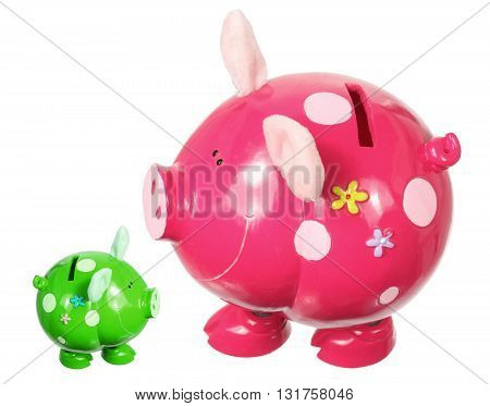 Big and Small Piggy Banks on White Background