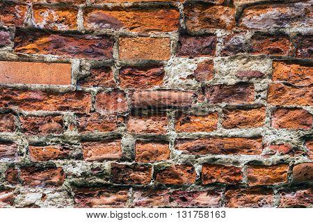Texture of ancient brick wall.