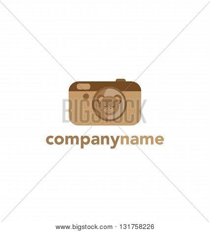 Kids logo . Flat logo, emblem, logotype. Camera Teddy Bear Cute brown Bear in simple flat style