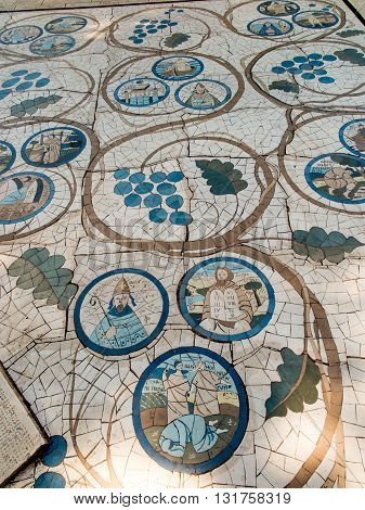 Mount of Beatitudes. Israel. July 9 2015: Mosaic in the Catholic chapel on Mount of Beatitudes near Tabgha at the Sea of Galilee Israel