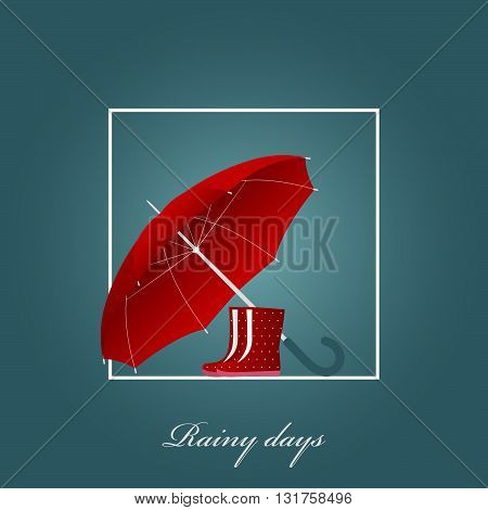 Red umbrella and bright boots on a rainy day. Vector illustration. Background.