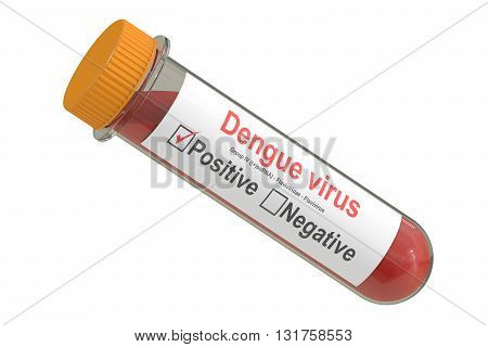 Test tube with blood sample positive dengue virus 3D rendering