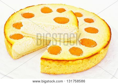 Cheesecake with Apricots Isolated on White. Studio Photo