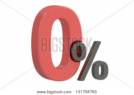 Zero 0 percent discount concept 3D rendering isolated on white background