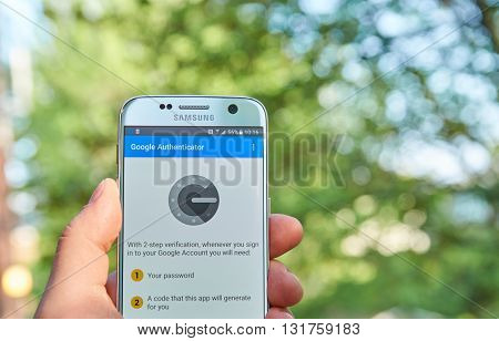 MONTREAL CANADA - MAY 23 2016 : Google Authenticator application on Samsung S7. The app works with 2-Step Verification for Google Accounts to provide an additional layer of security when signing in