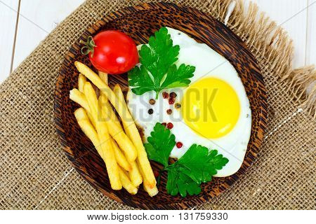 French Fries with Scrambled Eggs Studio Photo