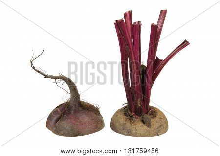 Beetroot cut in Two Halves on White Background