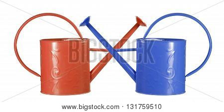Red and Blue Watering Cans on White Background