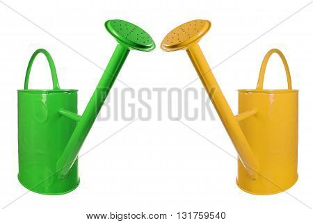 Green and Yellow Watering Cans on White Background