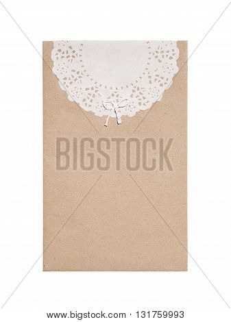 Brown envelope with stencil white paper isolated on white background.