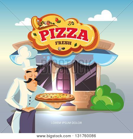 Pizza. Facade of pizzeria. Vector illustration isolate on light background. Pizza illustration. Cook offers pizza on tray