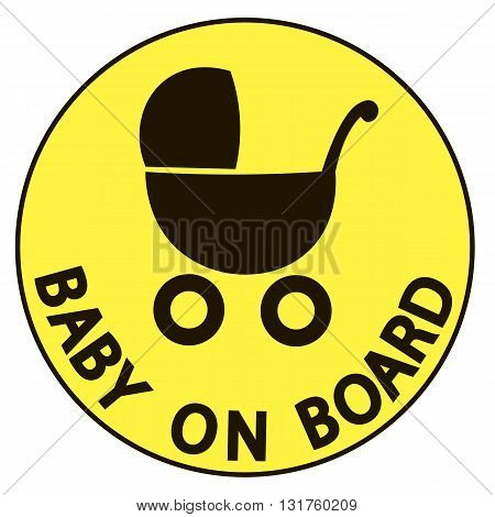 Baby on board vector illustration sign yellow background
