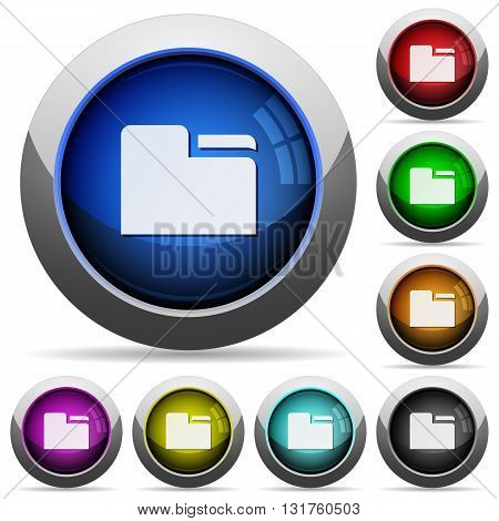 Set of round glossy tab folders buttons. Arranged layer structure.