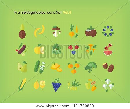 Fruit and vegetables icons set. Flat vector illustration.