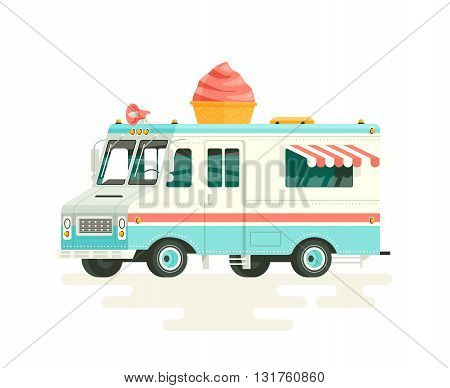Vector colorful flat ice cream truck. Isolated on white background.