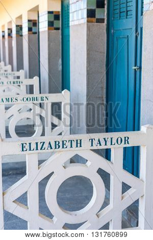 Beach Closets With Famous Names In Deauville, France