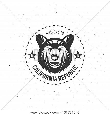California republic t-shirt vector graphics. California related apparel design. Vintage style illustration.