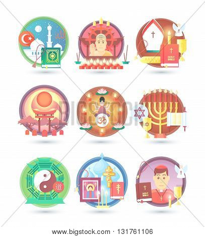 Religion and confession icons. Flat colorful concept vector illustration.