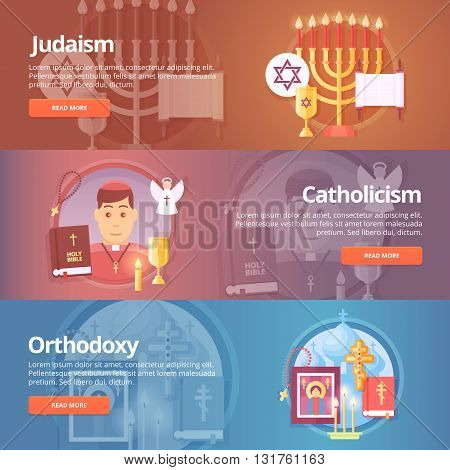 Judaism. Catholicism. Orthodoxy. Religion and confessions banners set. Vector design concept.