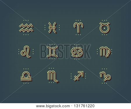Zodiac icon. Sacred symbols. Astrology signs. Vintage thin line vector collection. Isolated on dark background.