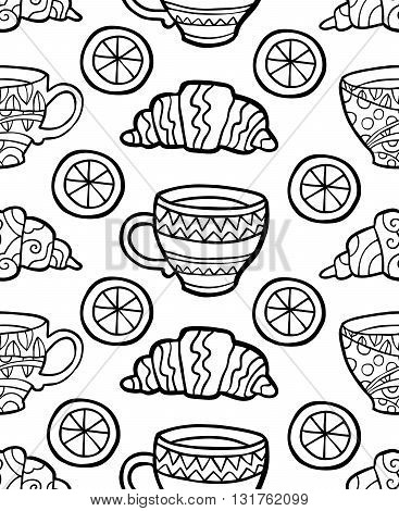 Seamless pattern with cup, croissant and lemon on white background. Vector illustration
