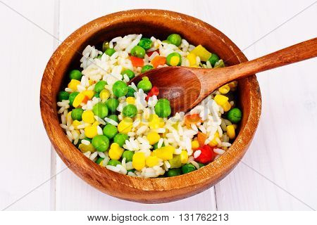 Risotto with Vegetables, Carrots and Peas. Studio Photo
