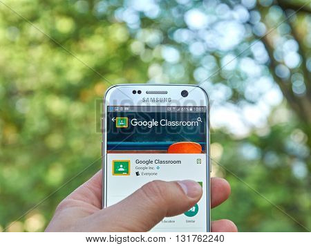 MONTREAL CANADA - MAY 23 2016 : Google Classroom application on Samsung S7 screen. Google Classroom is a tool for teachers to distributing and collecting work.