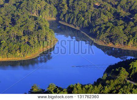 Amazing, beautiful view of Tuyen Lam lake of Dalat city