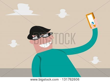 Man takes a selfie shot using his mobile phone. Editable Clip Art.