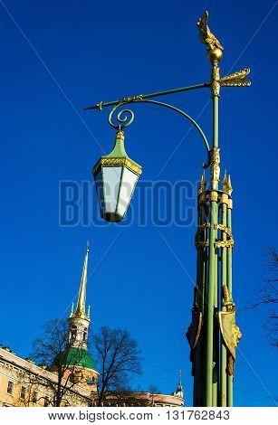 Decorative lantern near he Mikhailovsky Castle in the historical part of St.-Petersburg. Russia