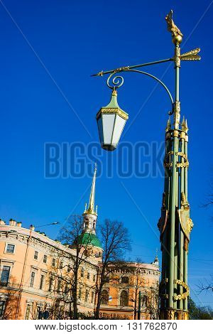 Decorative lantern near the Mikhailovsky Castle in the historical part of St.-Petersburg. Russia