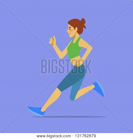 Slim attractive Sportswoman running. Cool vector illustration