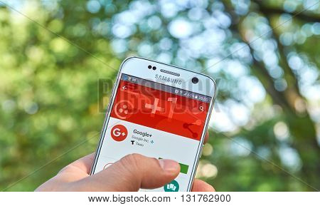 MONTREAL CANADA - MAY 23 2016 : Google Plus application on Samsung S7 screen. Google Plus is an interest-based social network that is owned and operated by Google Inc.