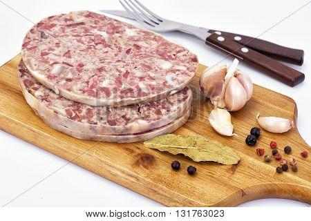 Saltisons, Brawn Homemade Ham on Wood. Studio Photo
