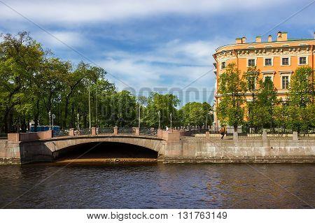 View of the Mikhailovsky Castle. Embankment of the river Fontanka. Saint Petersburg. Russia.