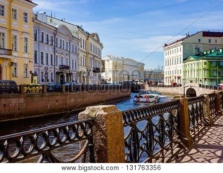 Embankment of the Moyka River in Saint Petersburg Russia