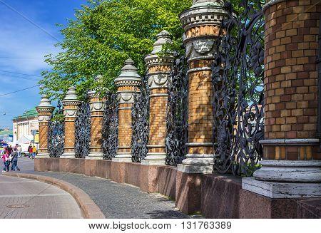 Fence of the Mikhailovsky Garden. Saint Petersburg. Russia.
