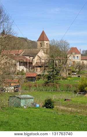 Jalogny France - april 8 2015 : the picturesque village in spring